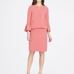 Tahari Trumpet-Sleeve Crepe Skirt Suit Coral Reef